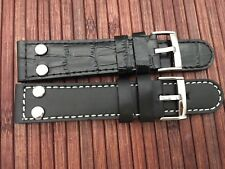 2 leather straps with holes for wristwatch - high quality - pin buckle - 22mm