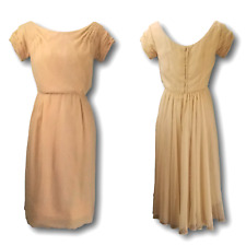 Unusual 50s Vintage Garden or Cocktail Party Dress Short Cream w/ Train Size MED