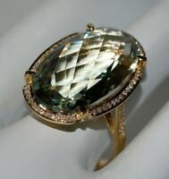 "NEW Bellarri 14K YG ""Diva Visions"" Prasiolite & White Diamond Ring Sz 6.75"