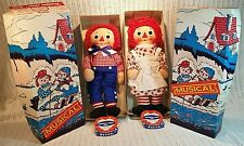 Very Rare 1963 1st Knickerbocker Musical Raggedy Ann & Andy Dolls Boxes & Tags