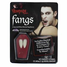 VAMPIRE FANGS - Fake Teeth Caps w/ Dental Putty Adhesive Halloween Fancy Dress