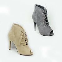 WOMENS SMART HIGH HEEL PEEP TOE LACE UP ANKLE BOOTS LADIES SHOES NEW SIZE 3-8