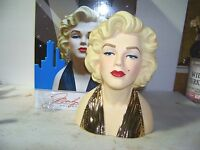 10 Inch Marilyn Monroe Licensed Head vase in 22K Gold Dress new In Box 100 Made