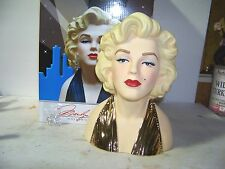 10 Inch Marilyn Monroe Licensed Head vase in 22K Gold Dress new In Box 100 Made