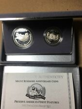 United States 1991 MOUNT RUSHMORE Anniversary Silver & Clad  PROOF 2 Coin Set