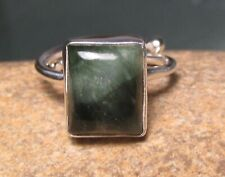 Sterling silver adjustable SERAPHINITE ring UK H/US 4. Gift bag.