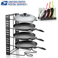 Kitchen Cabinet Pan Rack Shelf Cookware Organizer Pot Lid Holder Skillet Storage