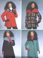 Women's Wide Collar Winter Coat Sewing Pattern UNCUT Size Large XL Fleece Wool