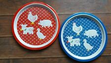 Red and Blue Tin Farm Animal Country Metal Tray