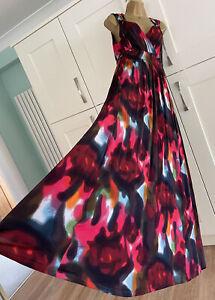 Stunning M&S Per Una Red Mix Maxi Dress Size 16 Long Worn Once
