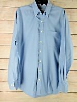 Peter Millar Mens Button Down Dress Shirt Blue Plaid Checks L Large 100% Cotton