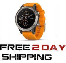 Garmin Fenix 5 Plus Sapphire Watch Titanium w/ Orange Flare Band 010-01988-04