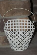 SOUTHERN LIVING AT HOME WHITE METAL WOVEN BASKET WALL DECOR FARMHOUSE STYLE