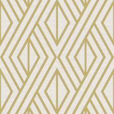 Papel Pintado Geométrico Blanco/Dorado - Pera Árbol uk30515 metálico