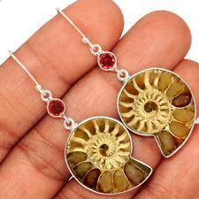 """""""Fossil"""" Ammonite - Madagascar & Garnet 925 Silver Earring Jewelry AE148912"""