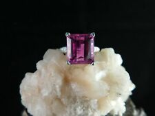 12.38 ct. Emerald Cut Pink Topaz Ring Sterling Silver Engraved Art Deco Style