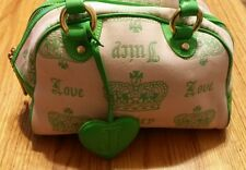 JUICY COUTURE HANDBAG / PURSE / MAKE-UP BAG PINK WITH LIME TRIM VERY GOOD