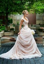 Fairy Tale Wedding Dresses Light Pink Sleeveless Bridal Gowns Custom Made 2017