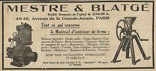 W3256 MESTRE & BLATGE moteurs agricoles - Pubblicità 1929 - Advertising