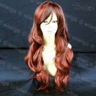 Beautiful Long Wavy Hair Dark Brown Mix Copper Red Ladies Wig From WIWIGS UK