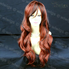 Wiwigs Beautiful Long Wavy Dark Brown & Copper Red Mix Ladies Wig
