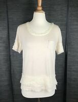 DIANE VON FURSTENBERG DVF Lace Trim Short Sleeve Cream Tee Shirt Top TShirt Sz S