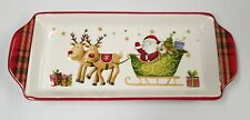 Christmas Tableware Ceramic Santa Plaid Festive Design Oblong Serving Platter