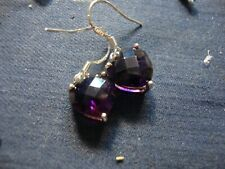 Silver Amethyst Earrings Grandmas Estate 925 Sterling