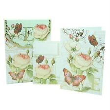PUNCH STUDIO FLORAL MONOGRAM POUCH NOTE CARDS- #56976E (E)
