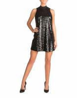 GUESS Women's High Neck Black Sequin Dress Size S