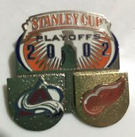 2002 NHL Stanley Cup Playoffs Tac Lapel Hat Pin  Avalanche Red Wings