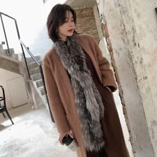 Women's scarf Real Genuine Knitted Silver Fox Fur scarf Soft Long Scarves Shawls
