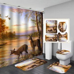 Sunset Forest Deer Shower Curtain Bath Mat Toilet Cover Rug Art Bathroom Decor