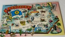 Vintage 1960s postcard GREETINGS FROM KENTUCKY state map tourism card