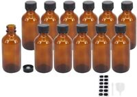 2oz 12 pack Amber Boston Glass Bottle With Black Poly Cap, Funnel, Chalk Labels.