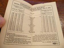 Chesapeake Beach Railway Timetable - 6/17/1922