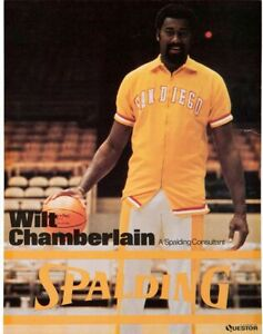 Wilt Chamberlain San Diego Conquistadores ABA Spalding Advertising Display RARE!