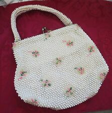 VINTAGE 1950'S CORDE BEADED BAG BY LUMURED~MADE IN USA~CREAM W PINK FLOWERS EX