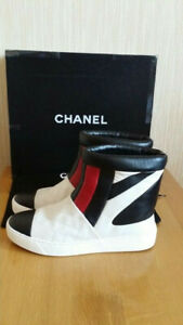 $895 CHANEL Quilted Multicolor Leather Sneakers Short Boots Size 36.5