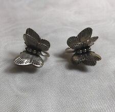 Vintage Sterling Silver 925 3D Butterfly Screw Back Earrings
