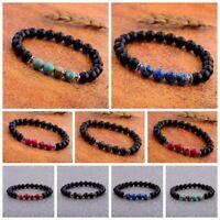 Couples 8MM Matte Agate Stone Beads Elasticity Charm Men's Bracelets Jewelry