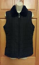 Carolyn Taylor Black Sleeveless Faux Fur Full Zip Vest Size S Small