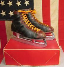 Vintage North Bay MC inc. Leather Mens Ice Hockey Skates 2-Tone Sz.8 with Box