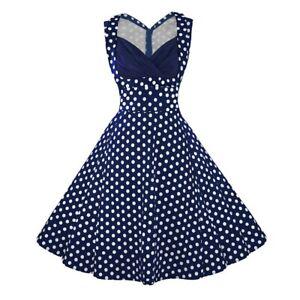 50er Jahre Rockabilly-Kleid Vintage 50s Sommerkleid - Blau mit Polka Dots Jenny