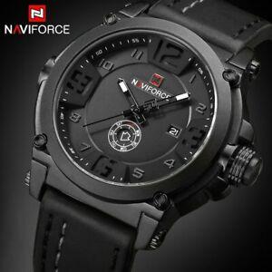 NAVIFORCE Luxury Men Sports Military Analog Quartz Watch Date Wristwatch Leather