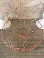 Copper Wire Rose Gold Metal Storage Basket Round Kitchen Living 5 Sizes