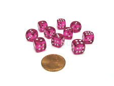 Pack of 10 Deluxe Round Edge Small 10mm Transparent D6 Dice - Magenta