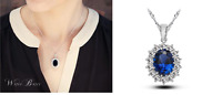 Elegant Royal Silver Sapphire Blue Cubic Zirconia White Gold GP Pendant Necklace