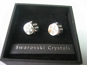 A Fabulous Pair of Dice Shaped BNIB Cuff Links With Swarovski Crystals by Next.