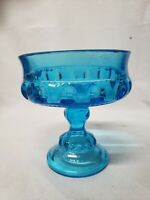 INDIANA GLASS KINGS CROWN THUMBPRINT COMPOTE / CANDY DISH, ICE BLUE , VINTAGE